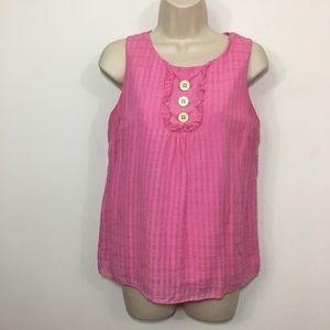 Lilly Pulitzer Pink Sleeveless blouse Ruffle Sz 4